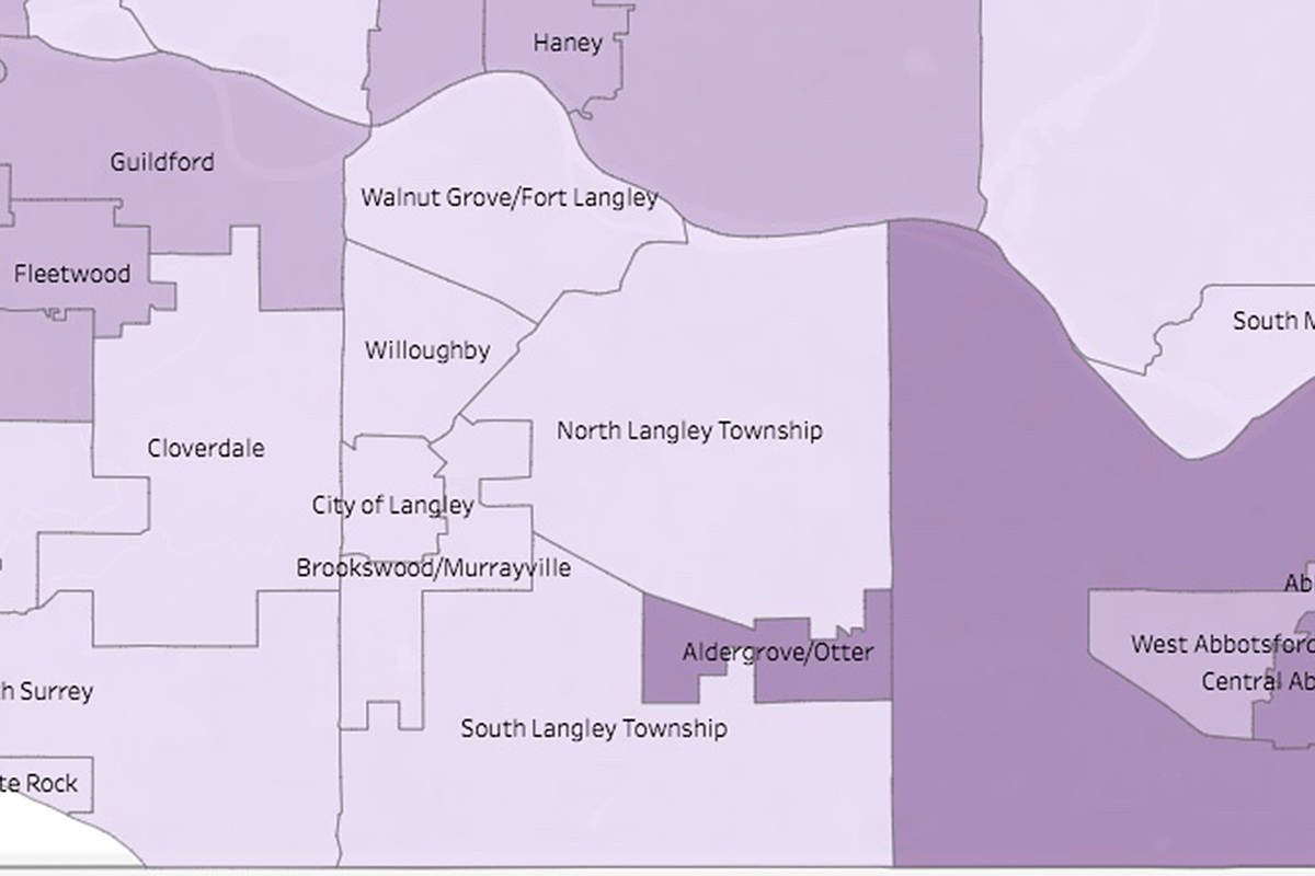 Aldergrove is seeing the highest transmission rates of COVID-19 in B.C., but all areas are seeing a general decline in rates. (BC CDC)