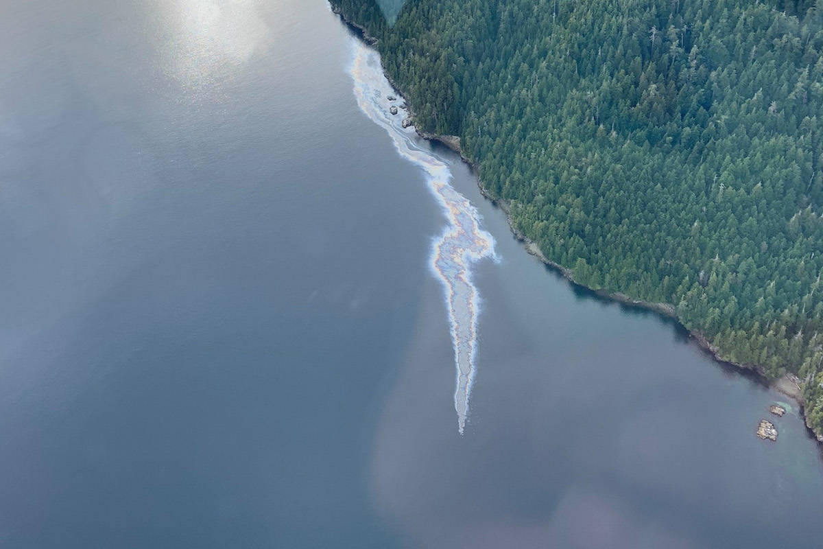 An aerial view of the marine oil-spill near Bligh Island in Nootka sound that the Canadian Coast Guard posted in a live social media feed in December. ( Canadian Coast Guard/Facebook)