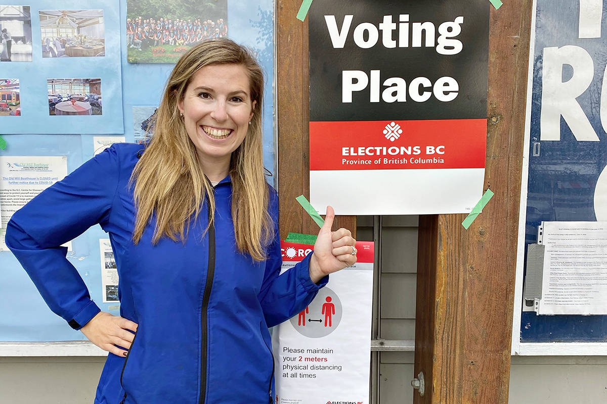 Brookswood Secondary School teacher Katie Glover teaches a political studies course whose students won praise from Langley MLA Andrew Mercier, praising them for their 'insightful' questions. (Special to Langley Advance Times)