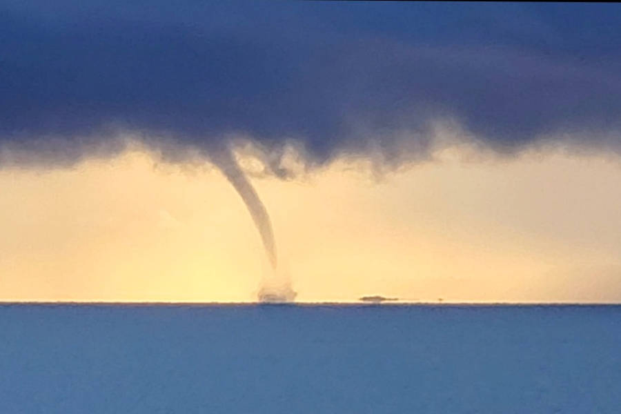 Jillian Rutledge had a surprise when she looked out her window this morning - a waterspout on the ocean. She lives near Kin Beach, just north of Comox. Photo by Jillian Rutledge