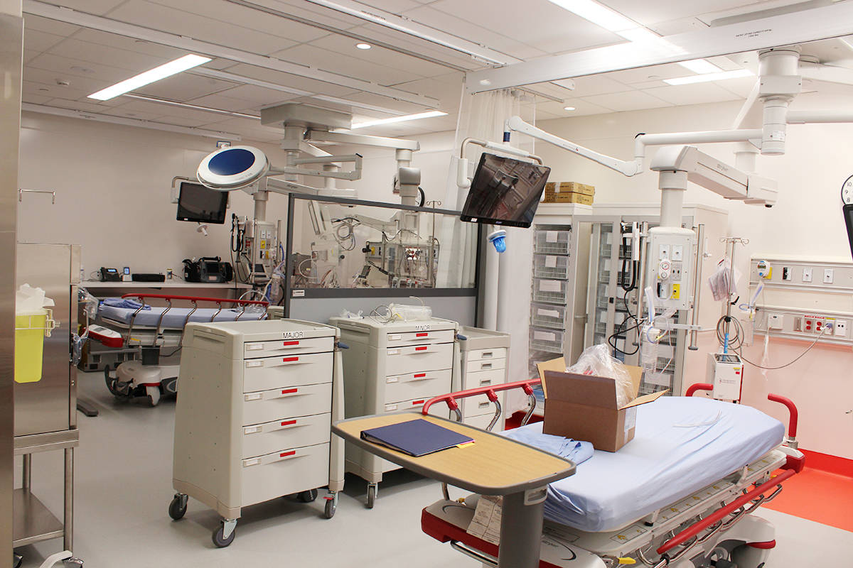 Two trauma bays in Langley Memorial Hospital's Martini Family Emergency Centre can expand to accommodate more patients in a critical disaster.