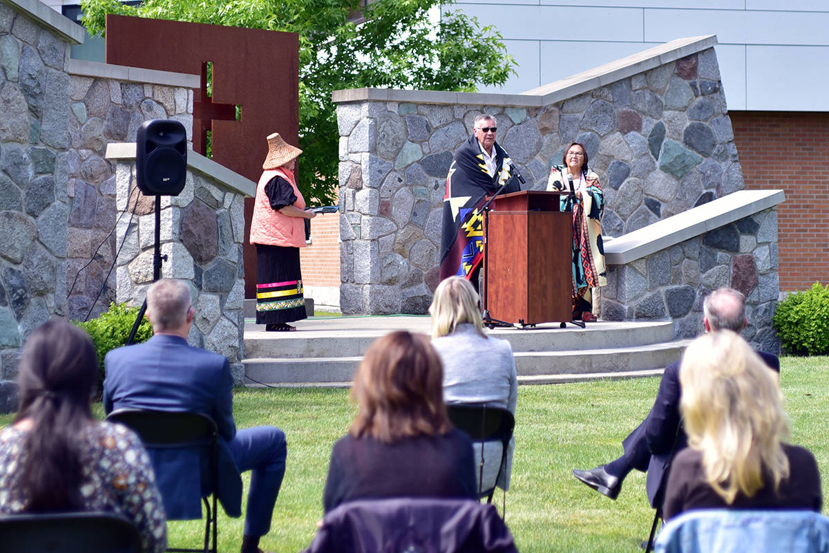 Trinity Western University held a vigil Tuesday as well as having two more on Thursday, June 10 to honour the 215 children whose remains were buried at a residential school in Kamloops. Their remains were found with ground-penetrating radar. (TWU/Special to the Langley Advance Times)