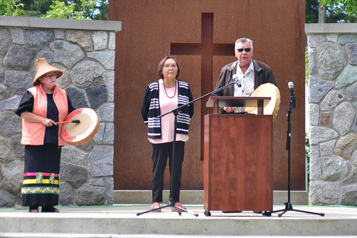 Patricia Victor (left) is the Siya:m at Trinity Western University. She along with Adeline Brown and Rev. Bruce Brown spoke at a vigil Tuesday, June 8. (TWU photo/Special to the Langley Advance Times)