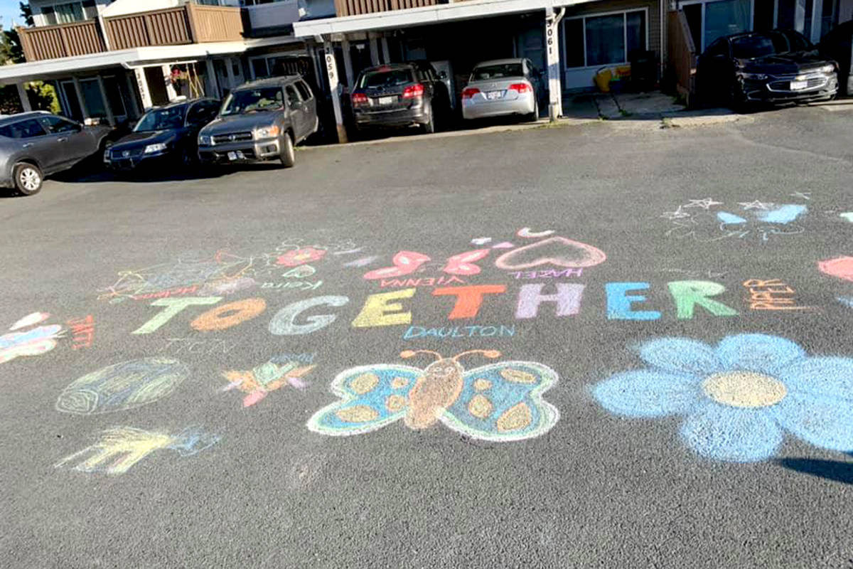 An entry for Aldergrove chalk drawing contest featured the theme of together with neighbourhood goods coming together. (Alyccia Gallagher/Special to The Star)