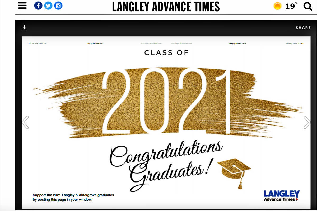 On June 3, the <strong>Langley Advance Times</strong> published a two-page poster for the public to put up in their windows. A local parent is calling on all businesses with signs to take part in a sign challenge and post messages to local grads.