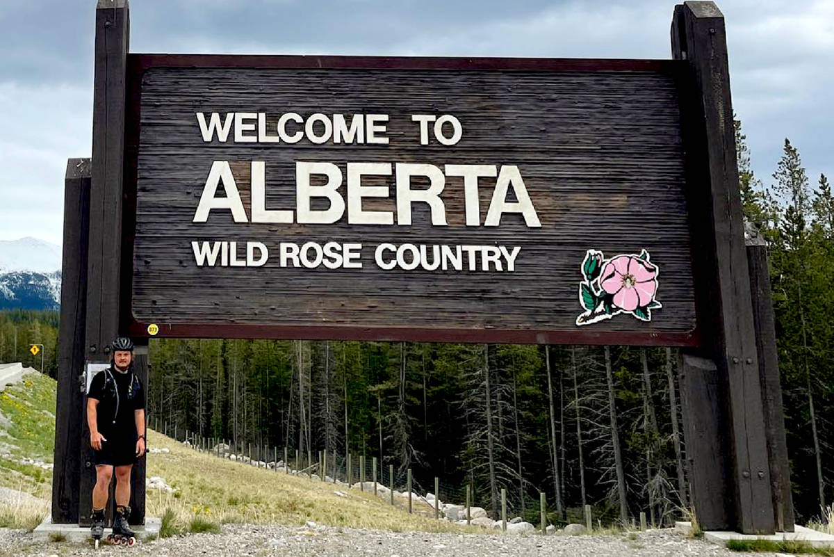 Blading for bees, led by Aldergrove resident Zach Choboter, headed through B.C and reached the Alberta border on June 8. (Special to The Star)
