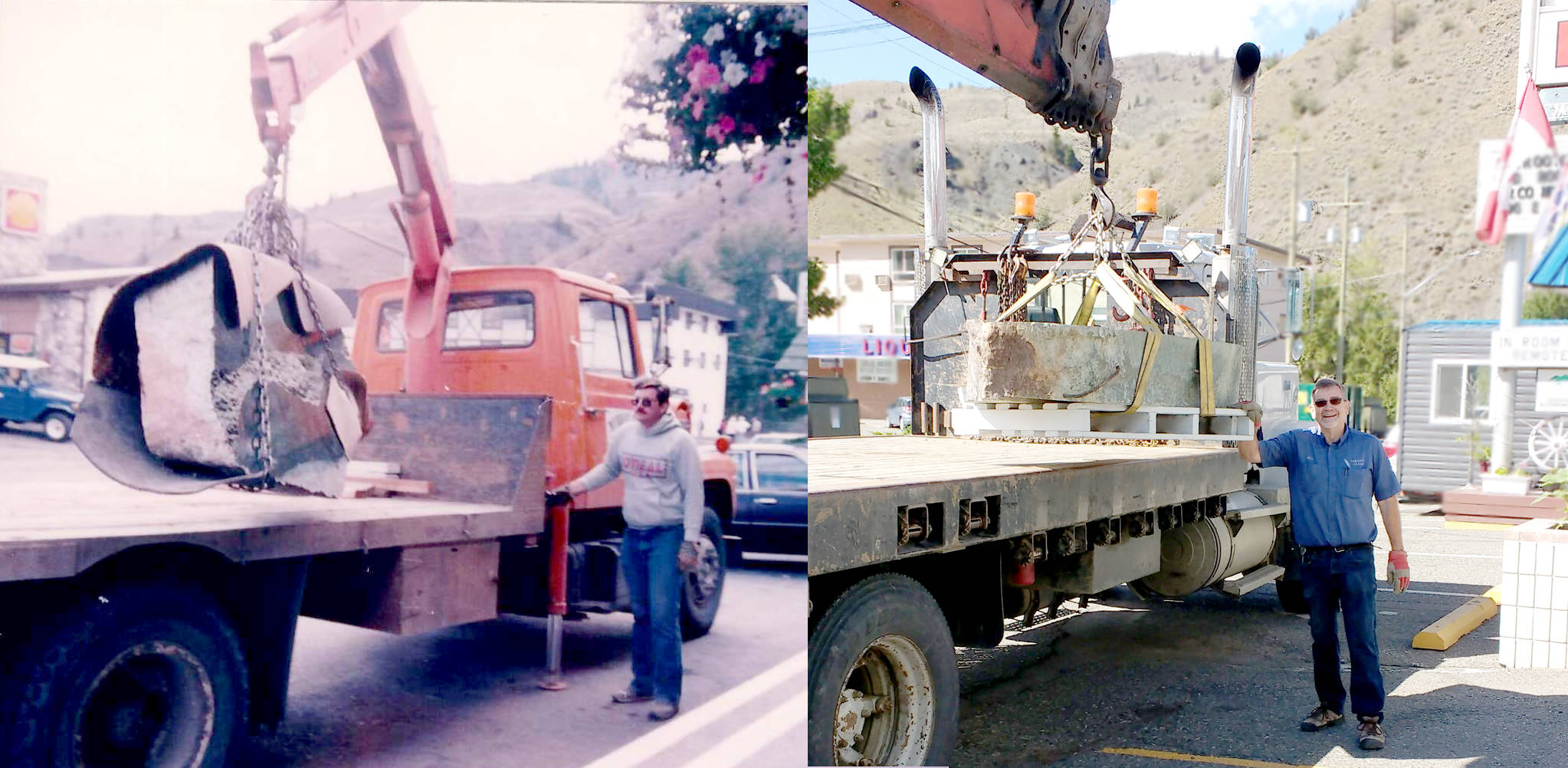 Bill Elliott then (left in 1985, when the jade boulder was originally installed outside the Cariboo Jade Shop) and now (right in June 2021, when the boulder was returned to the shop). (Photo credit: Heidi Roy)