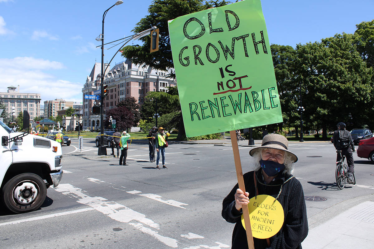 Seniors at a demonstration that shut down traffic on Belleville Street outside the legislature on Thursday afternoon. (Jake Romphf/ News Staff)