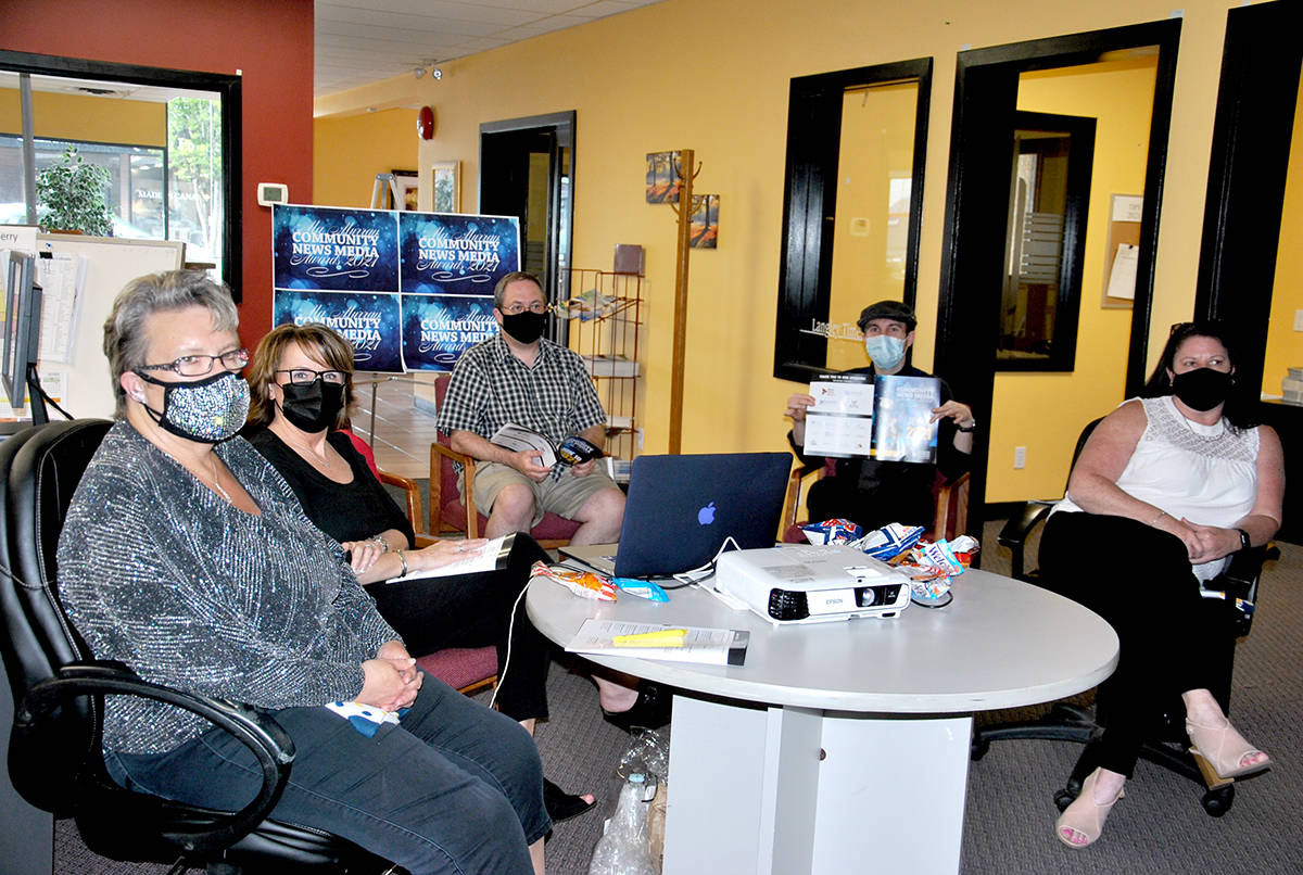 The Langley Advance Times team join the virtual Ma Murray Award ceremony on June 10. (Roxanne Hooper/Black Press Media)