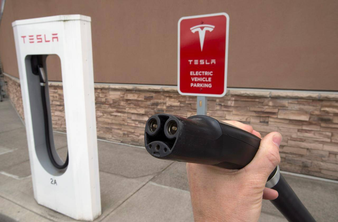 Electric vehicles have a few different types of plugs but makers such as Tesla provide adapters so they can use public charging stations. (Canadian Press/Jonathan Hayward)
