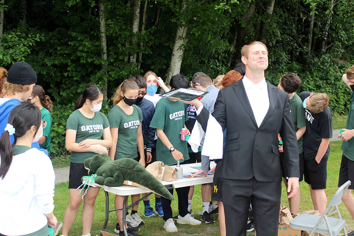 Walnut Grove Secondary hosted a Terry Fox run on school grounds on June 4, 2021 in support of the Canadian icon's foundation. Students ran a course on campus where they stopped at six stations to compete in a variety of challenges. (WGSS/Special to Langley Advance Times)