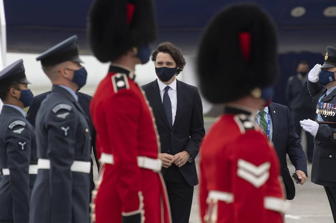 Prime Minister Justin Trudeau arrives for the G7 Summit, at the airport in Newquay, United Kingdom, Thursday, June 10, 2021. THE CANADIAN PRESS/Adrian Wyld