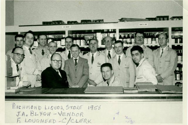 Staff pose for a photo at the government liquor store in Richmond, 1958. (Courtesy of BC Liquor Stores)