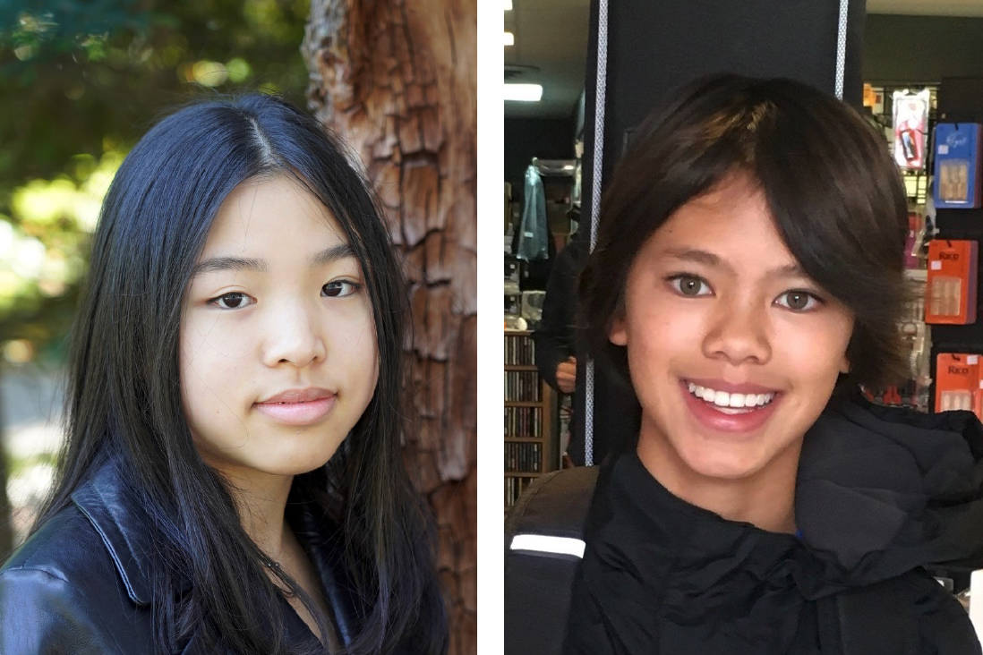 Victoria's Taya Lee, left, won Innovator of the Year in the 16 to 19 age category of the 2021 Youth Innovation Showcase, while Cranbrook's Keanu Chan, right, won Innovator of the Year in the 12 to 15 age category.
