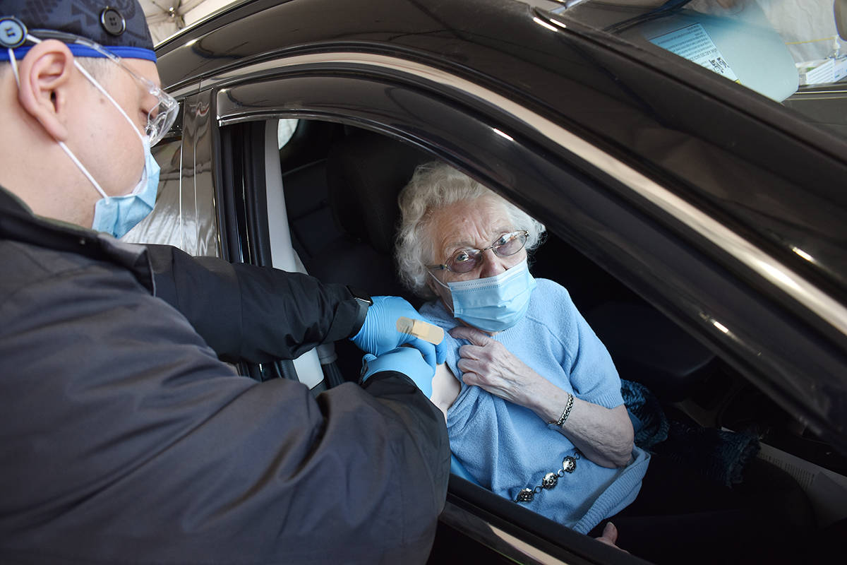 Lorraine Gibson, 90, received a COVID-19 immunization at the South Surrey Park and Ride vaccination clinic. (File photo: Aaron Hinks)