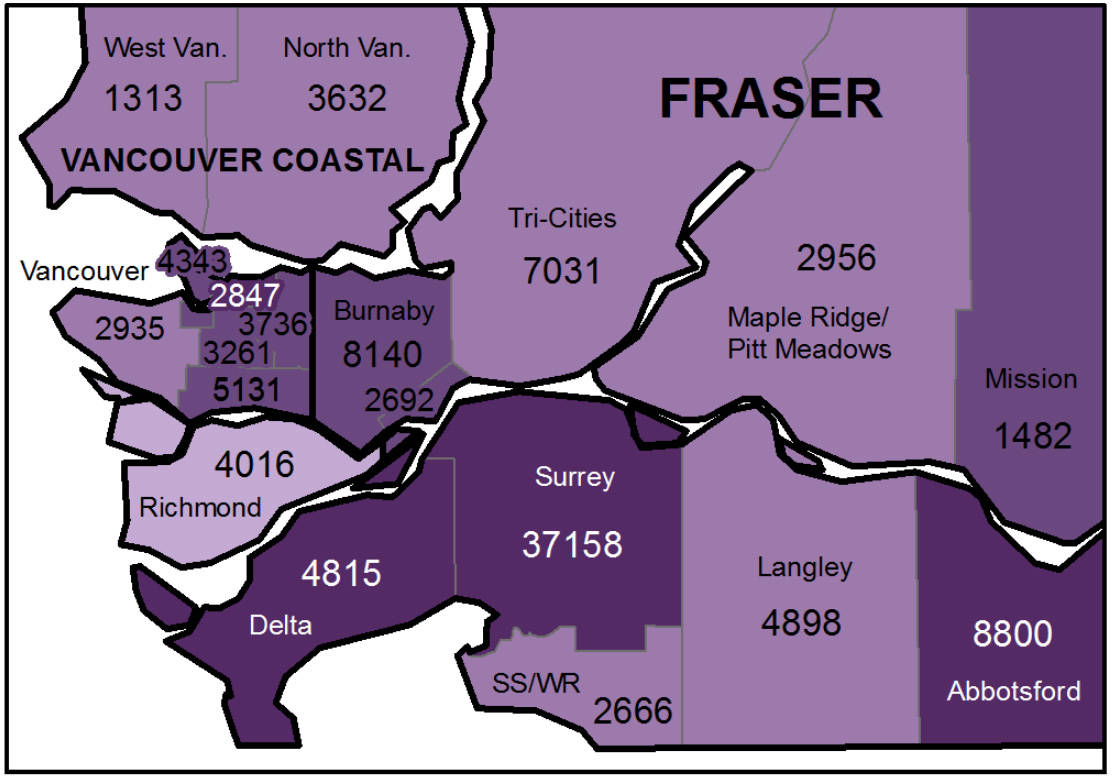 The total cases in the Lower Mainland local health areas from Jan. 1, 2020 to May 31, 2021. (Map: BCCDC)