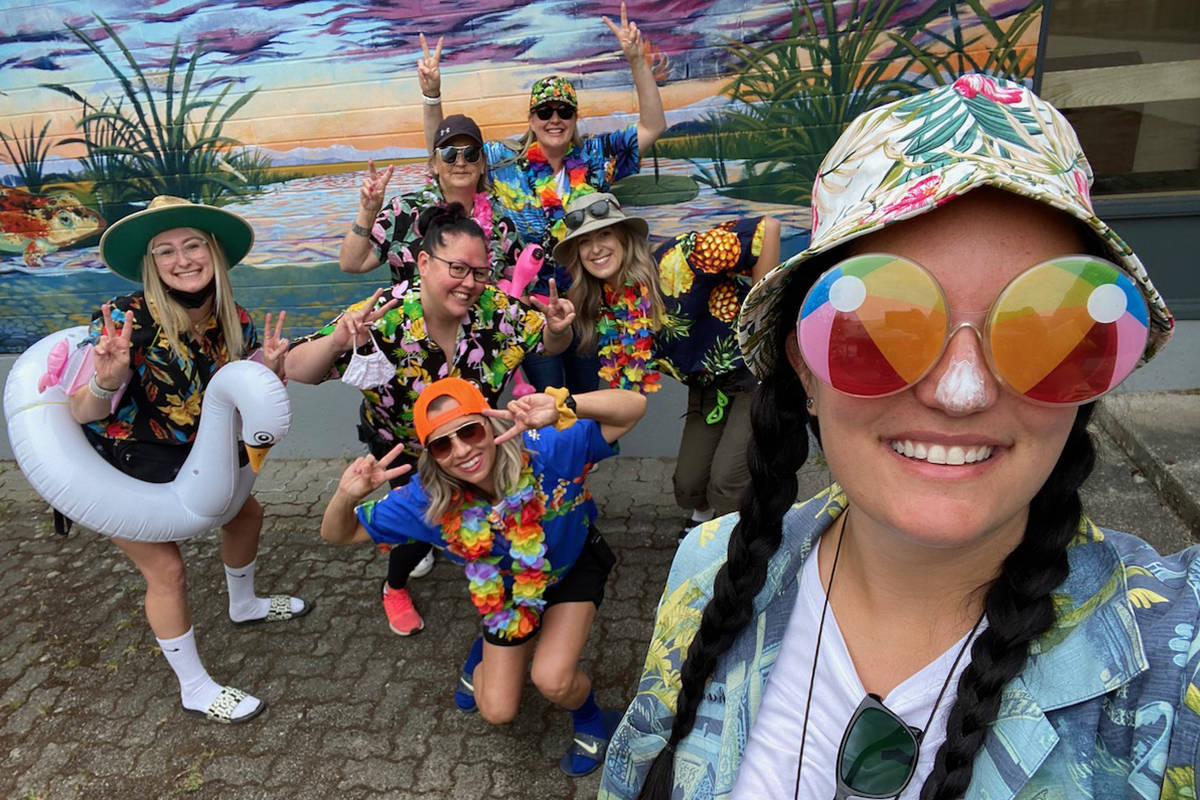 Shortreed Elementary staff got all dressed up for their students for a tacky tourist greeting on Friday morning. (Special to The Star)