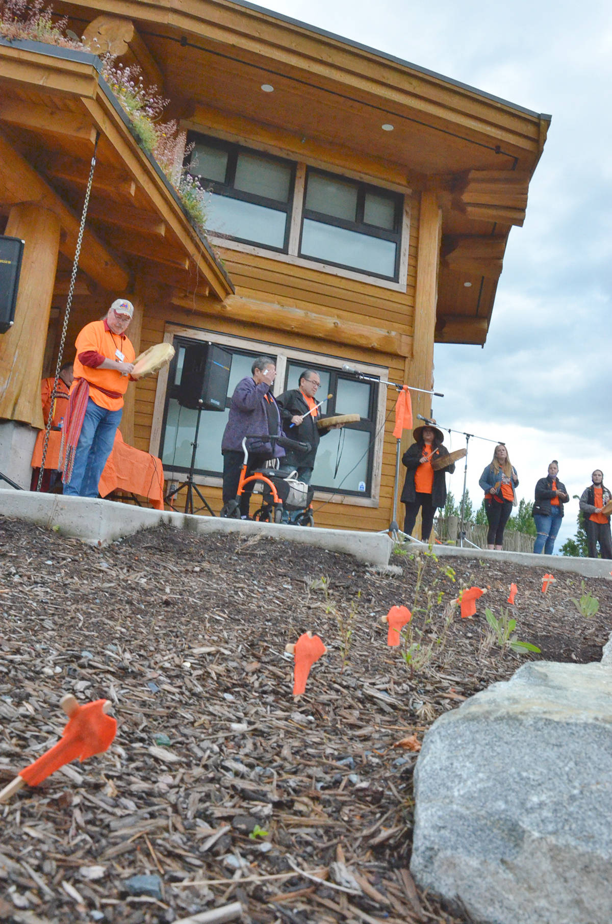 Tiny orange T-shirts are displayed around the grounds of the Derek Doubleday Arboretum. They were put up for the Friday evening vigil and will remain as part of the residential school display for another two weeks. (Heather Colpitts/Langley Advance Times)