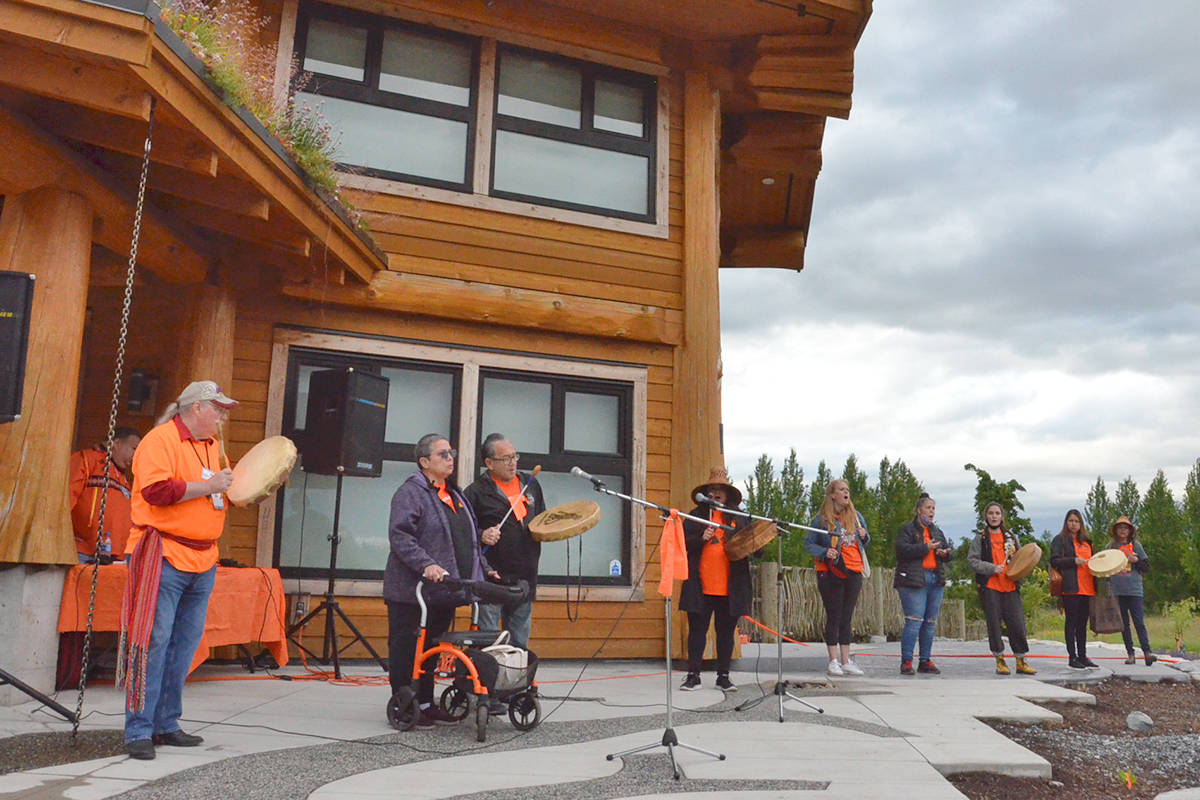 Drummers and other musicians were invited to perform songs as part of the Friday evening vigil to honour the 215 dead children at the Kamloops residential school. (Heather Colpitts/Langley Advance Times)