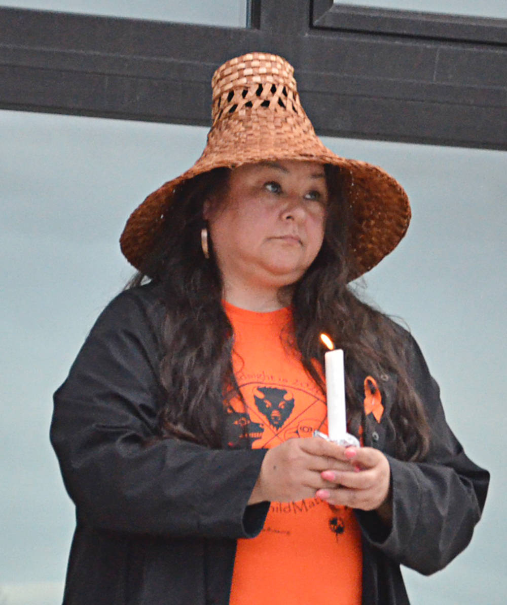 Katie Pearson, CEO of the Lower Fraser Valley Aboriginal Society, was among the speakers at a vigil Friday, June 11 at the Derek Doubleday Arboretum. (Heather Colpitts/Langley Advance Times)