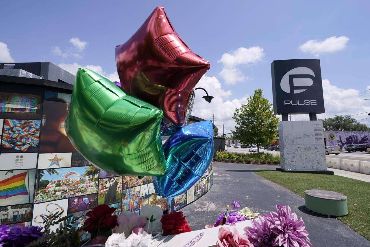 The Pulse nightclub memorial is seen Friday, June 11, 2021, in Orlando, Fla. Saturday will mark the fifth anniversary of the mass shooting at the site. (AP Photo/John Raoux)