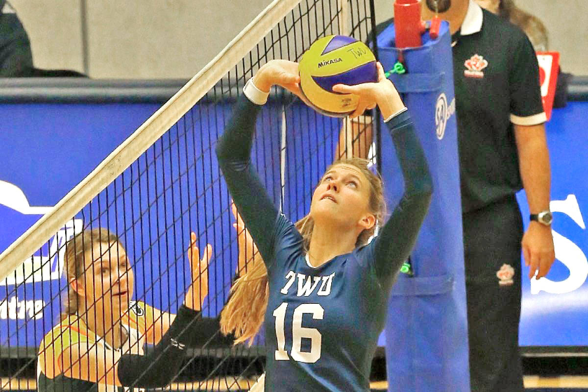 Langley's Brie King, seen here playing as a TWU Spartan, was a standout for Canada Saturday, June 12, as the team downed Serbia 3-1. (file)