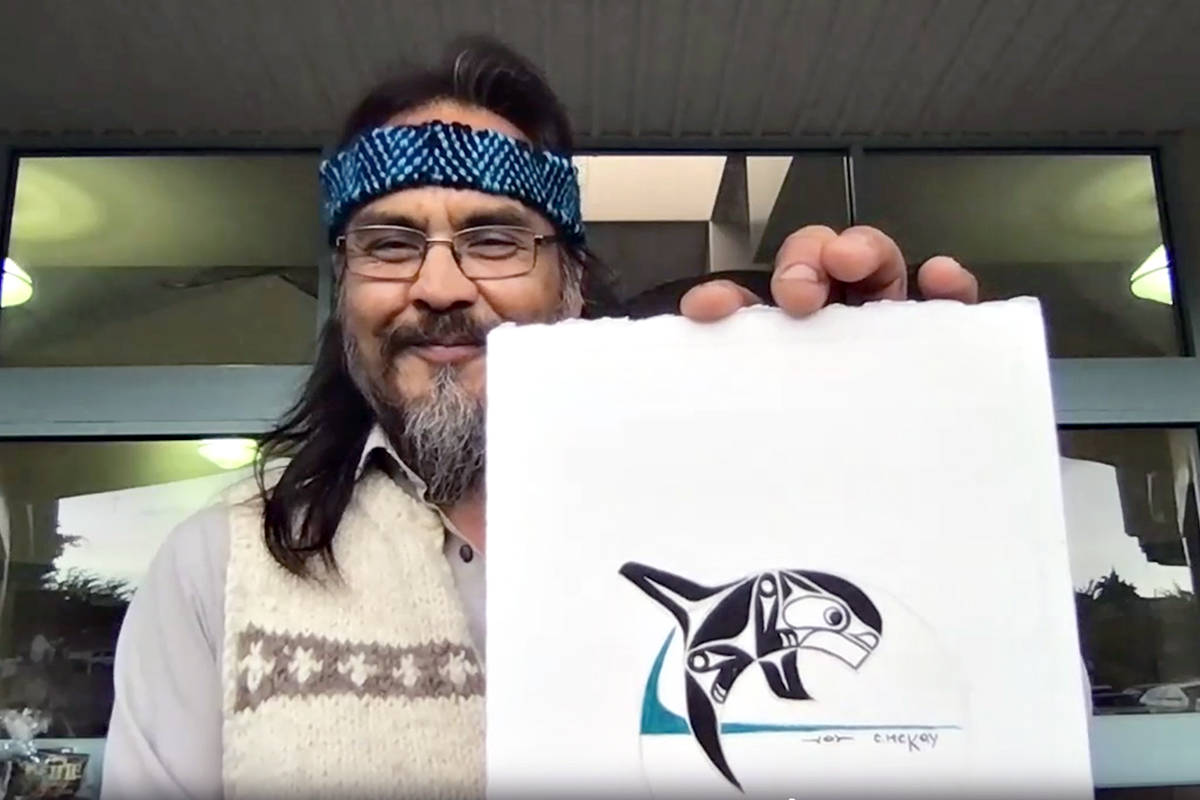 Cultural presenter and artist Carman McKay unveiled the new logo he designed for James Hill Elementary on its 25th anniversary. (Special to Langley Advance Times)