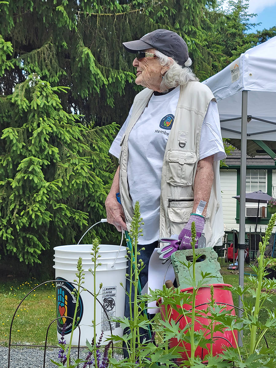 Pam Arthur accounted for 50 of the 400 lbs. of trash collected during a four-hour community cleanup by 50 volunteers in Fort Langley on Saturday, June 12. (Dan Ferguson/Langley Advance Times)
