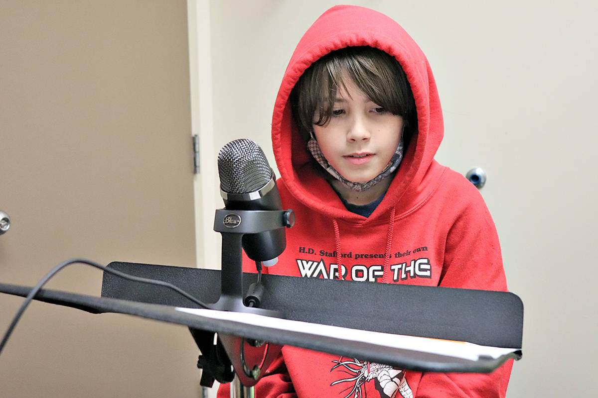 Martians have landed, and the invasion is being broadcast by students at H.D. Stafford school, performing their version of the famous Orson Welles radio production. (Special to Langley Advance Times)