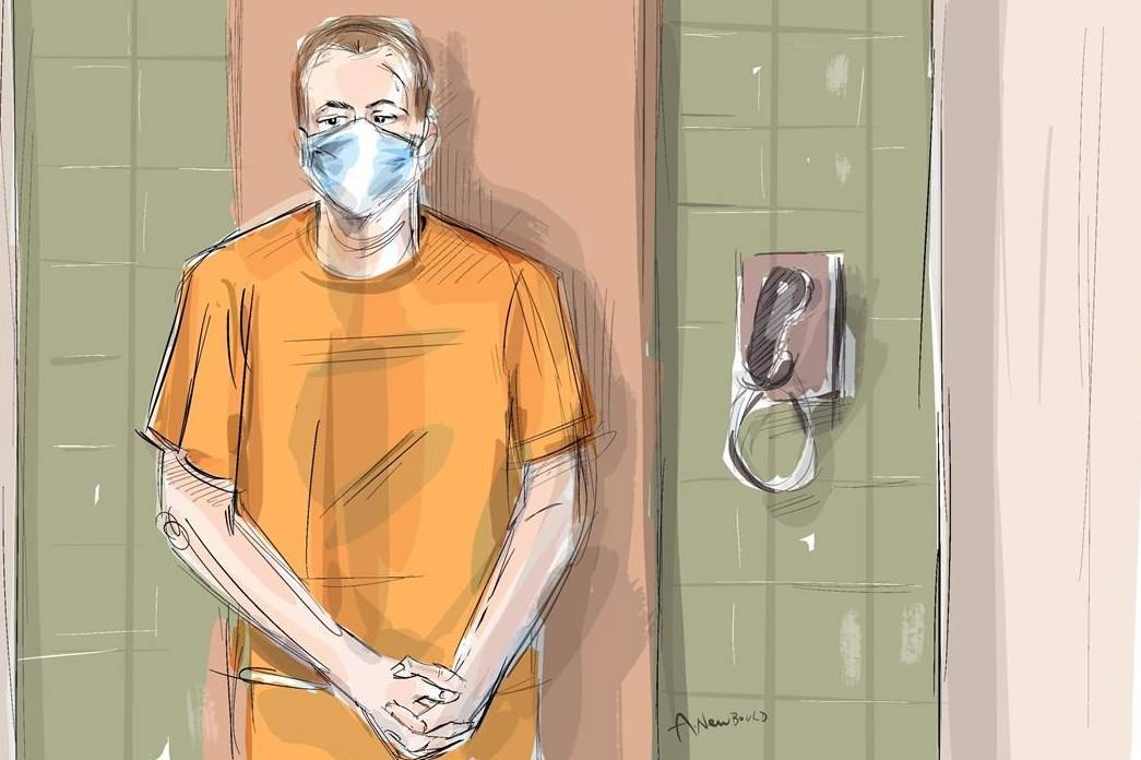 In this artist's sketch, Nathaniel Veltman makes a video court appearance in London, Ont., on June 10, 2021 as Justice of the Peace Robert Seneshen (top left) and lawyer Alayna Jay look on. THE CANADIAN PRESS/Alexandra Newbould