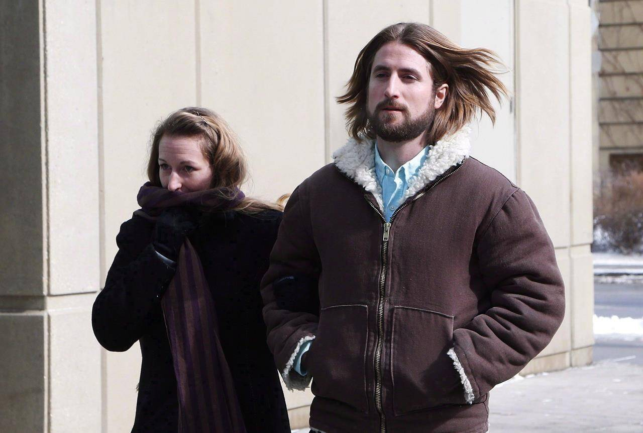 David and Collet Stephan leave for a break during an appeal hearing in Calgary on Thursday, March 9, 2017. THE CANADIAN PRESS/Todd Korol