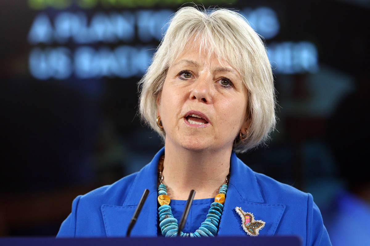 FILE – Provincial health officer Dr. Bonnie Henry talks about B.C.'s plan to restart the province during a press conference at Legislature in Victoria, Tuesday, May 25, 2021. THE CANADIAN PRESS/Chad Hipolito