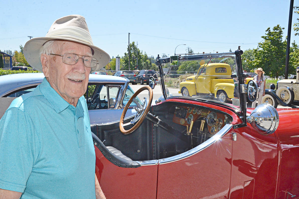 Douglas Denyer, seen here at a 2018 vintage car event at Harrison Pointe, turned 100 on Wednesday, June 16. (Langley Advance Times file)