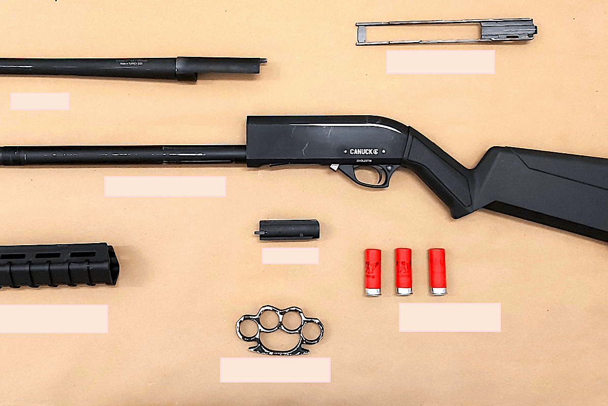 A 34-year-old man was arrested Monday after Transit Police found him riding a SkyTrain with a shotgun in the front of his sweatpants. (Transit Police)