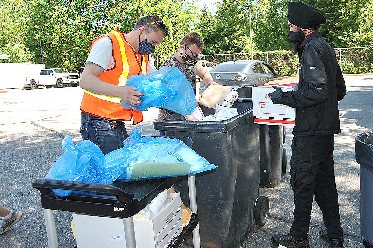 A shredding truck was full to the brim after a shred-it by donation event was held at the seniors centre recently. (Roxanne Hooper/Langley Advance Times)