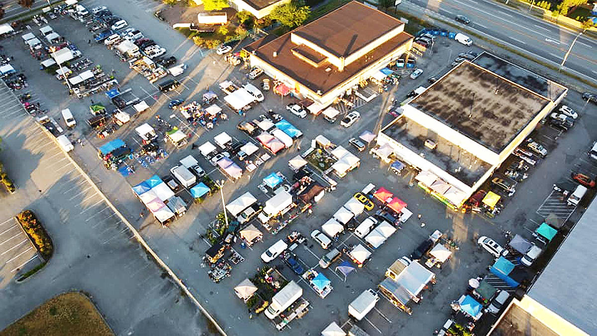 Outdoor vendors at the Cloverdale Flea Market are seen in this bird's eye view image from the flea market's Facebook page.