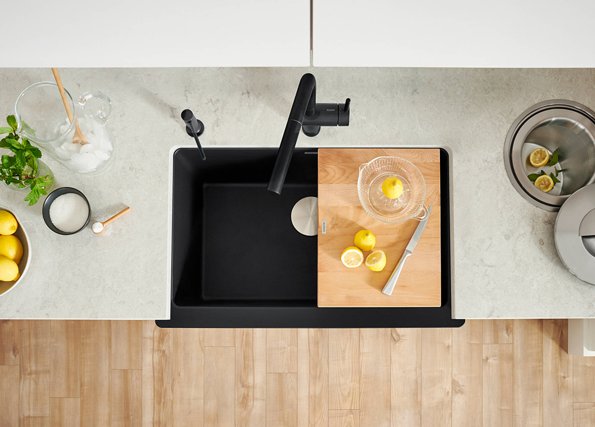With options like BLANCO's Beech cutting board and functional stainless-steel grids designed to perfectly fit the VINTERA kitchen sink, you can adapt your kitchen sink to your unique cooking style.