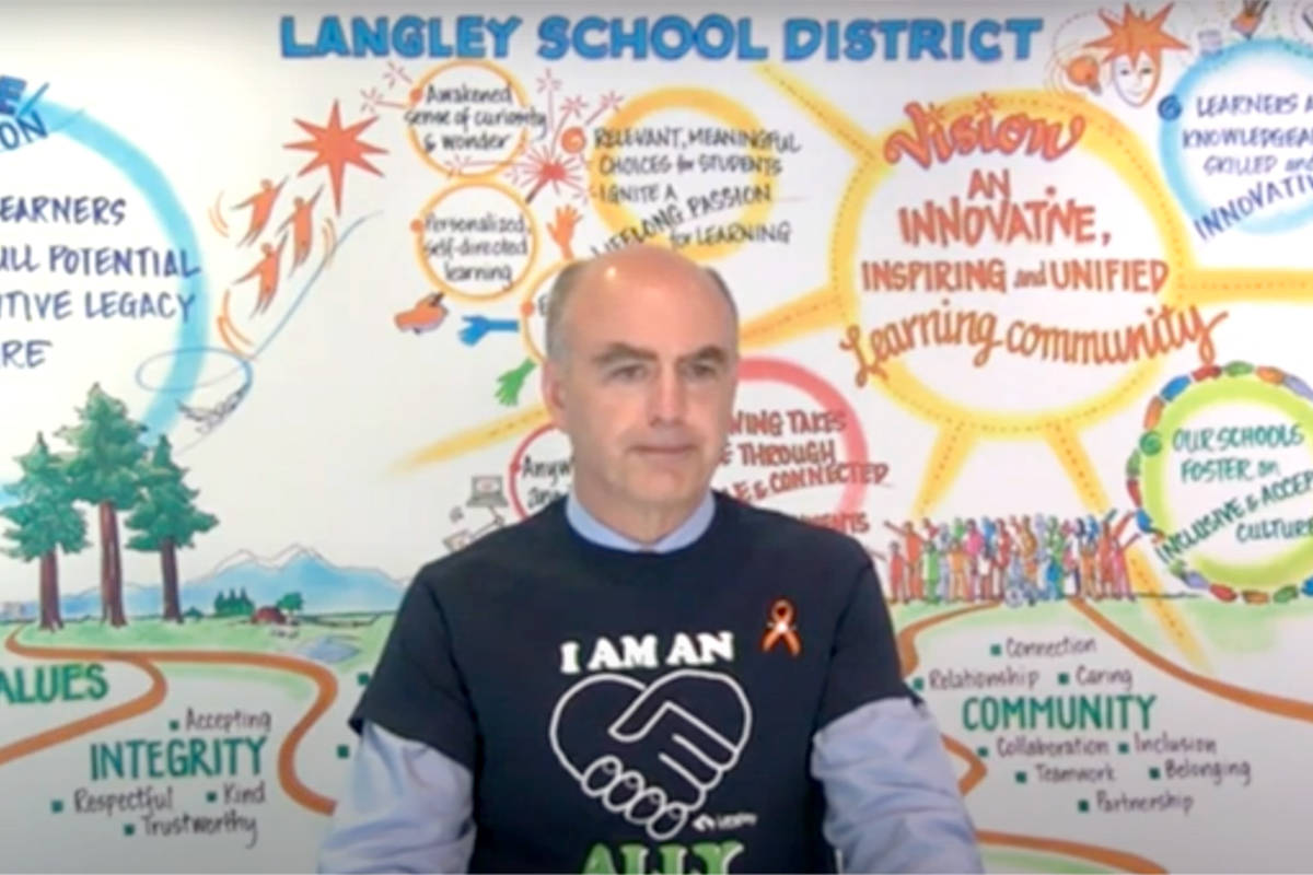 Langley School District superintendent Gord Stewart provides a COVID-19 update during a Tuesday, June 15, 2021 board meeting. (screen grab)