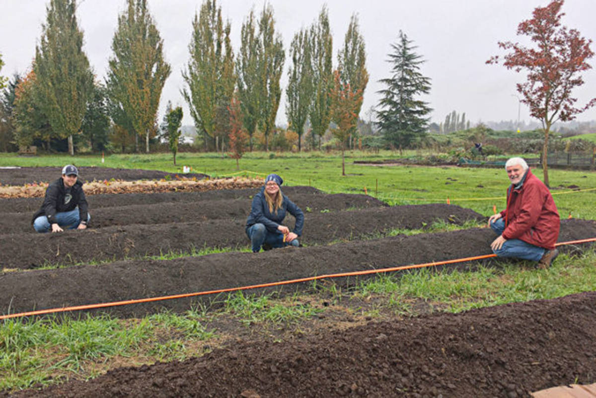 Stephen Nicol, Langley Secondary science teacher, Amanda Smith, LEPS Agriculture Program coordinator, and Gary Jones, a Langley Sustainable Agriculture Foundation director and KPU faculty member have been involved in the new Learning Farm. (Black Press Media files)