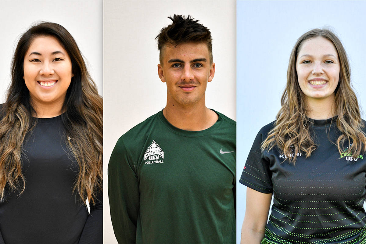 Langley's Jessica Phan and Caleb Kastelein, with Aldergrove's Cheye Gustafson were cited for showing leadership at the annual University of the Fraser Valley (UFV) Cascades awards for student-athletes. (Special to Langley Advance Times)