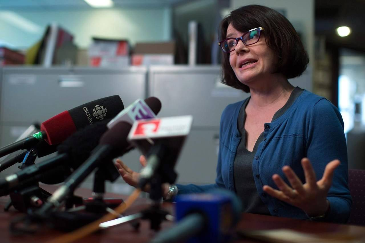 Dr. Réka Gustafson, who is British Columbia's deputy provincial health officer, speaks during a news conference in Vancouver on April 8, 2015. THE CANADIAN PRESS/Darryl Dyck