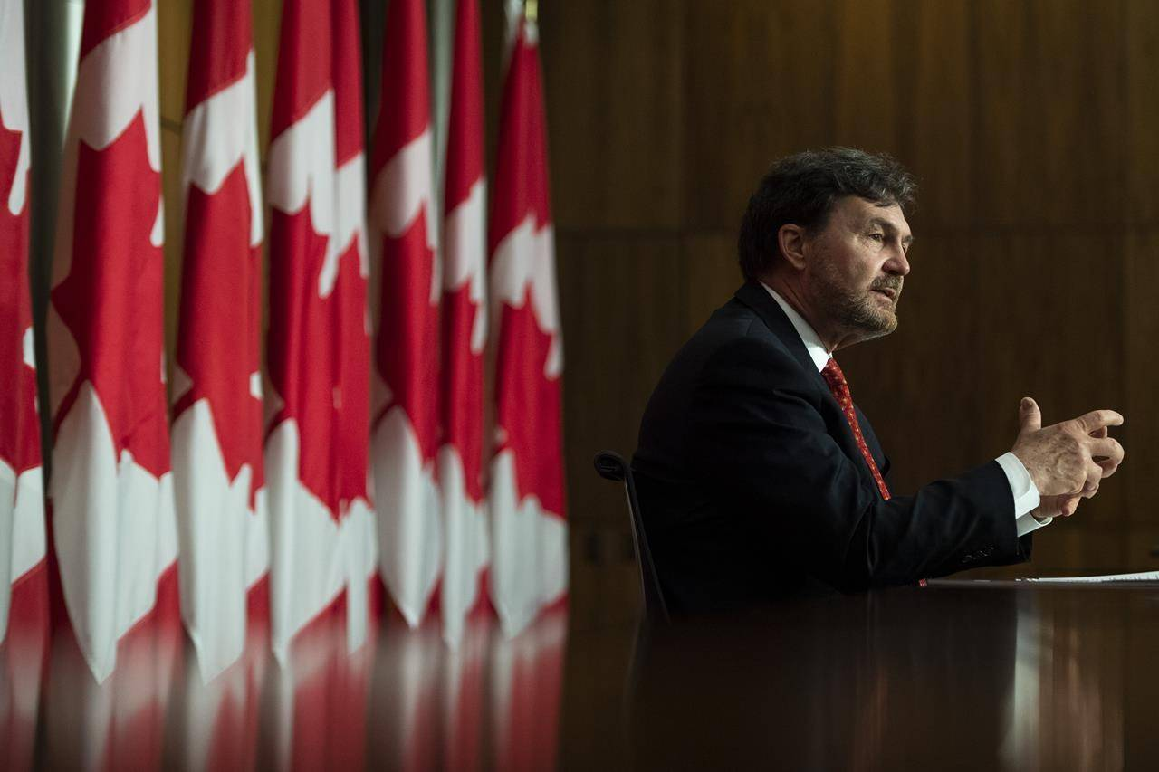Chief Justice of the Supreme Court of Canada Richard Wagner speaks during a news conference to update Canadians on the work of the Supreme Court, in Ottawa, on Thursday, June 17, 2021. THE CANADIAN PRESS/Justin Tang