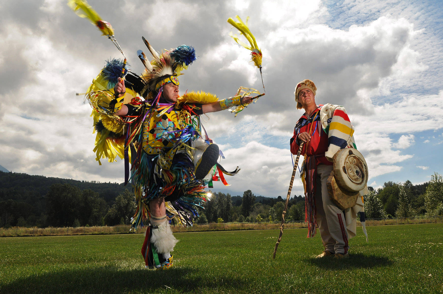 Gary Abbott (left) and Louis De Jaeger were two of the organizers for the 2014 Spirit of the People Powwow in Chilliwack. Monday, June 21, 2021 is Indigenous Peoples Day. (Jenna Hauck/ Chilliwack Progress file)