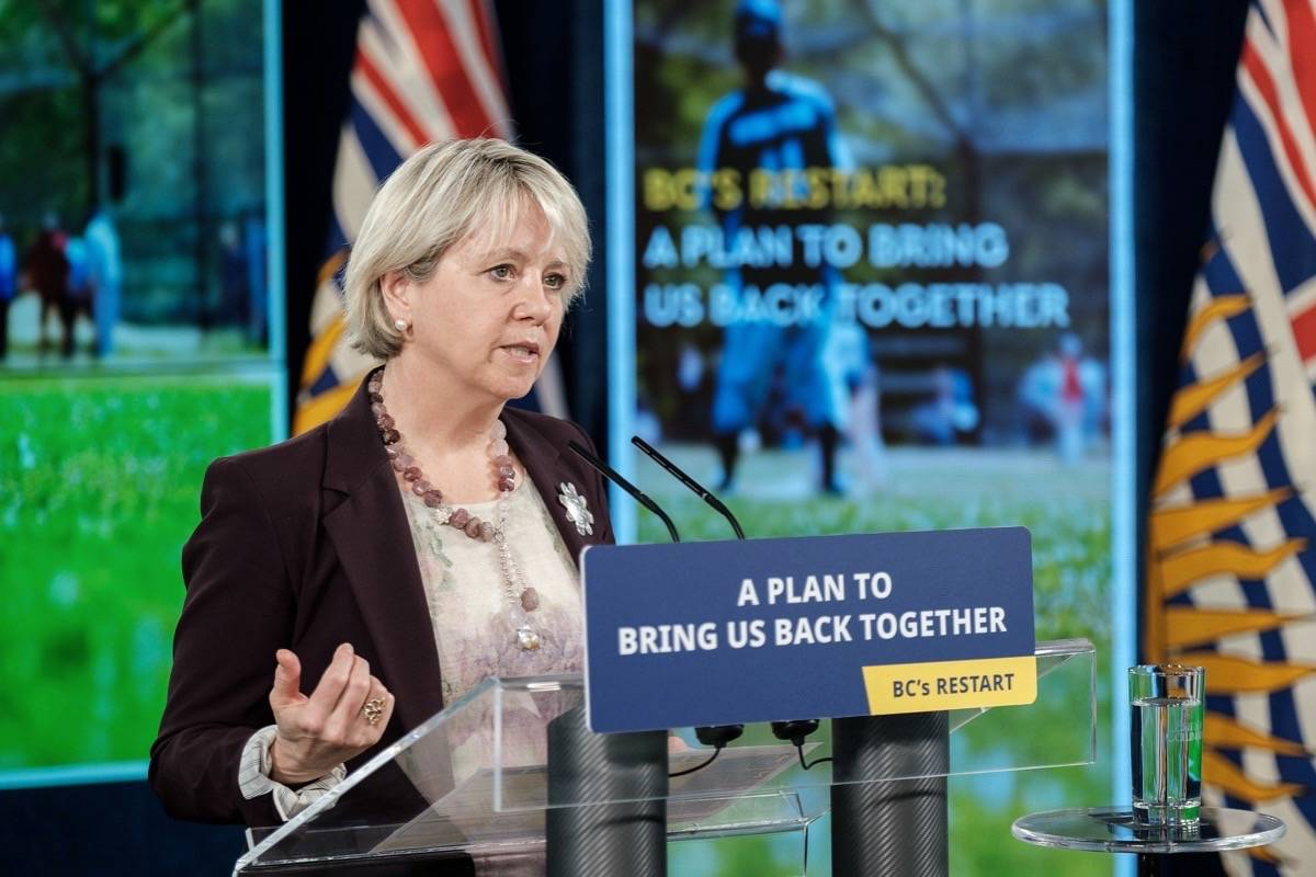Provincial health officer Dr. Bonnie Henry outlines B.C.'s COVID-19 restart plan, May 25, 2021, including larger gatherings and a possible easing of mandatory masks on July 1. (B.C. government photo)