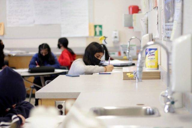 FILE – A science class at L.A. Matheson Secondary in Surrey, B.C. on March 12, 2021. (Lauren Collins/Surrey Now Leader)