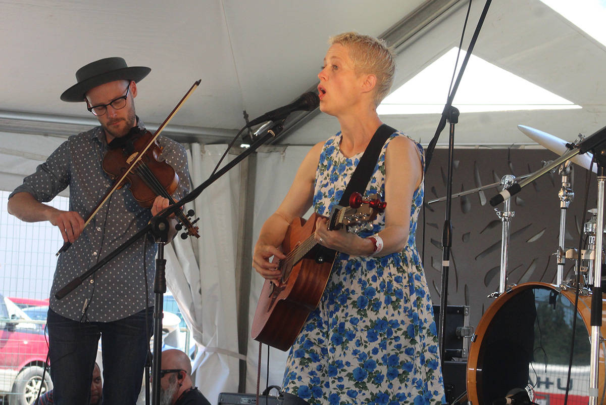 Helen Austin performing with Trent Freeman at the 2018 Vancouver Island MusicFest. Austin is one of the many performers listed for the 2021 event.