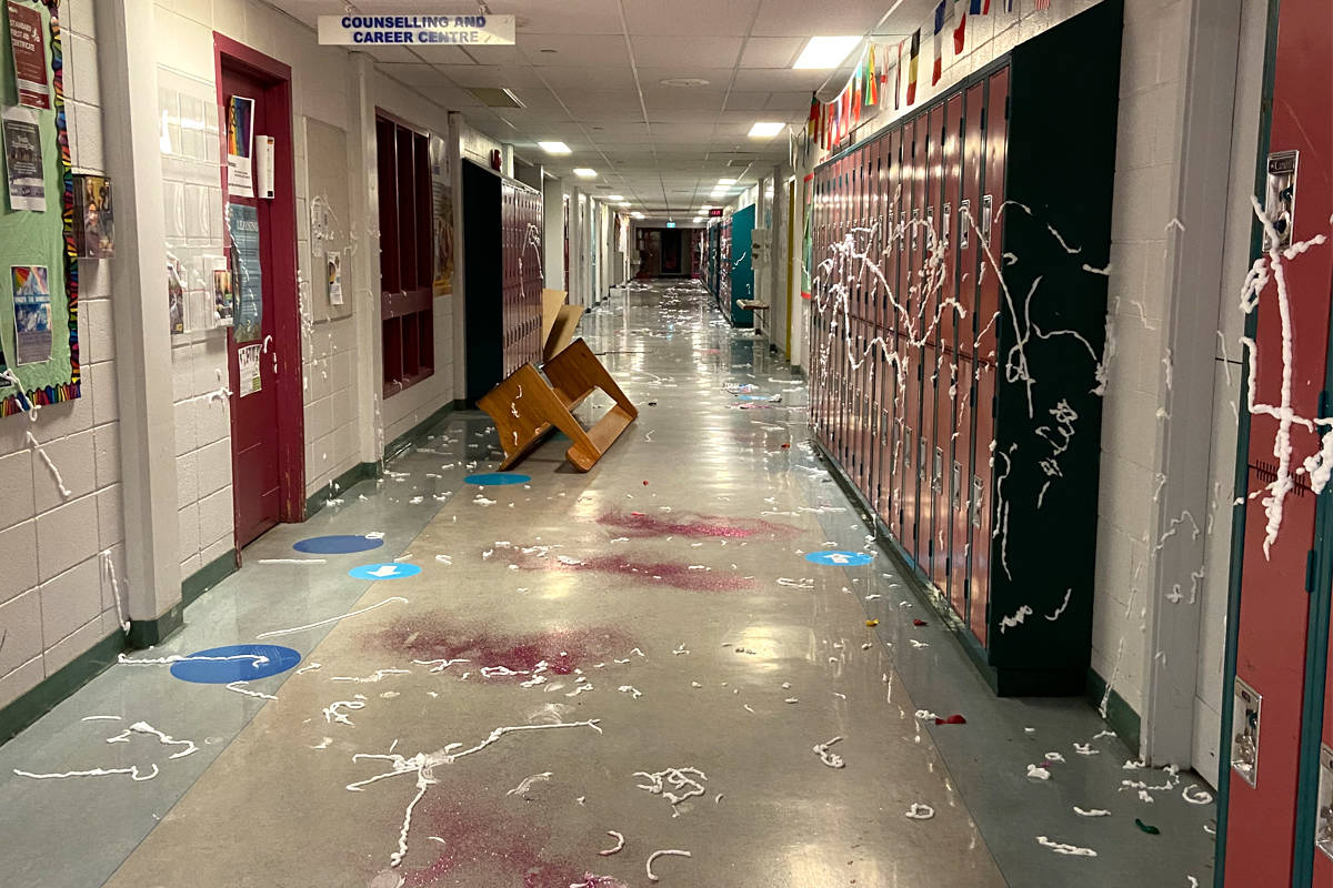 A hallway at Nelson's L.V. Rogers, which students decorated with shaving cream and glitter. The vandalism forced the shut down of the school Monday. Photo: Submitted
