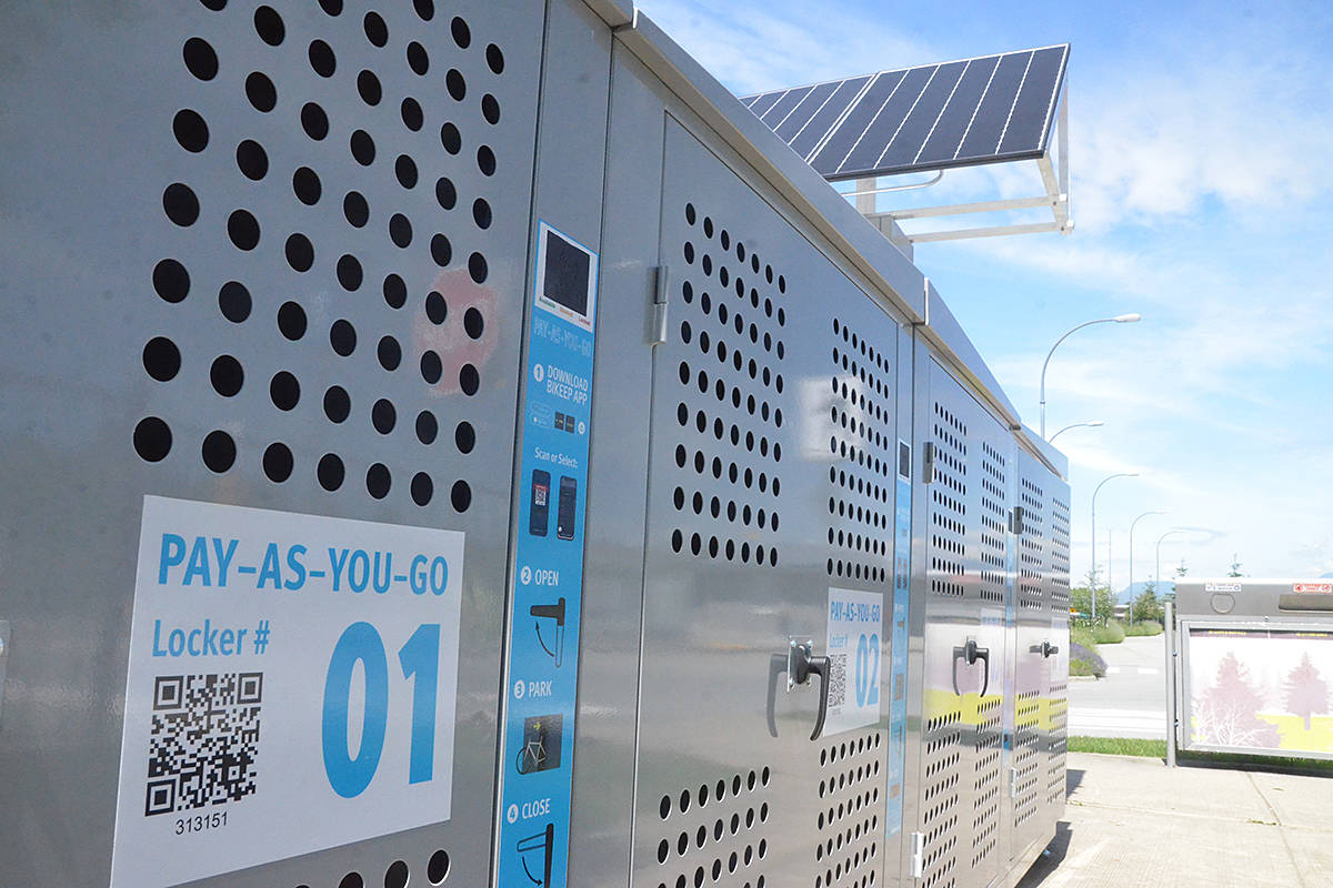The new bike lockers at Langley's Carvolth park and ride station are solar powered and open and close with a smartphone app. (Matthew Claxton/Langley Advance Times)