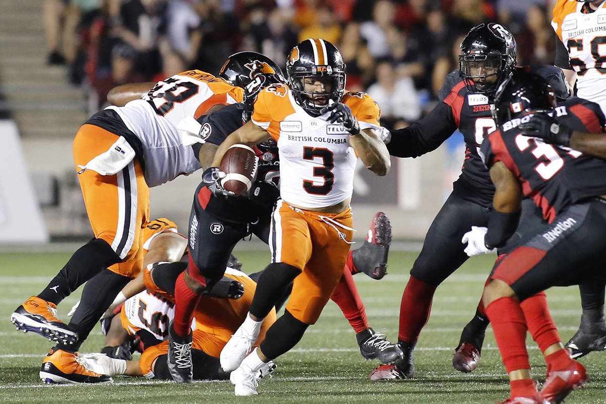 BC Lions running back John White IV (3) runs with the ball during first quarter CFL football action against the Ottawa Redblacks in Ottawa on Saturday, September 21, 2019. THE CANADIAN PRESS/ Patrick Doyle