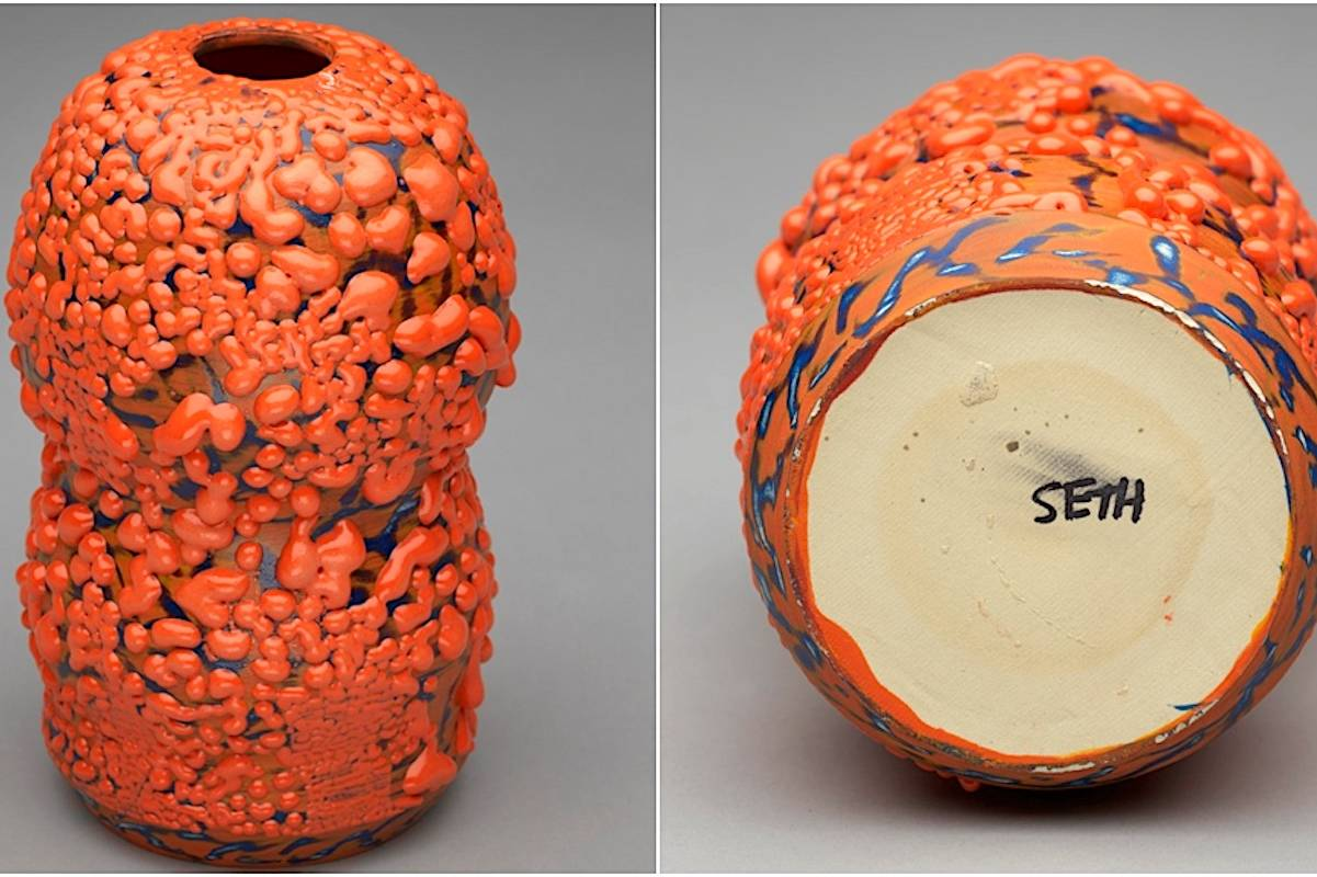Seth Rogen's vibrant orange sculpture was sold for $7,000 above Vancouver Art Gallery's initial estimation at auction Tuesday. June 15. (Heffel Fine Arts)